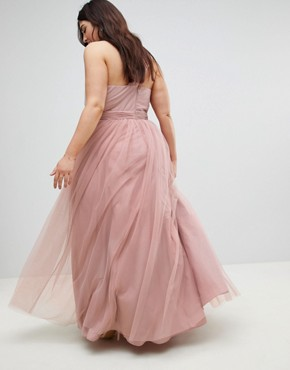 photo Tulle One Shoulder Maxi Dress by ASOS CURVE PREMIUM, color Mink - Image 2