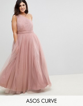 photo Tulle One Shoulder Maxi Dress by ASOS CURVE PREMIUM, color Mink - Image 1