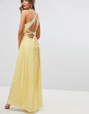 photo Pleated Maxi Bridesmaid Dress with Cross Back and Bow Detail by TFNC, color Pastel Yellow - Image 2