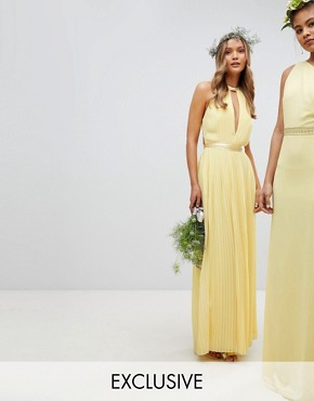 photo Pleated Maxi Bridesmaid Dress with Cross Back and Bow Detail by TFNC, color Pastel Yellow - Image 1