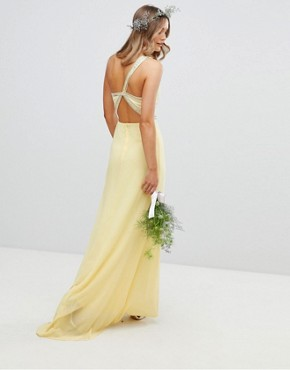 photo Embellished Maxi Bridesmaid Dress by TFNC, color Pastel Yellow - Image 2