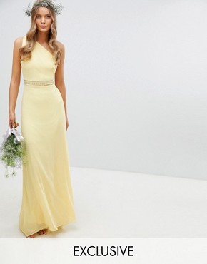 photo Embellished Maxi Bridesmaid Dress by TFNC, color Pastel Yellow - Image 1