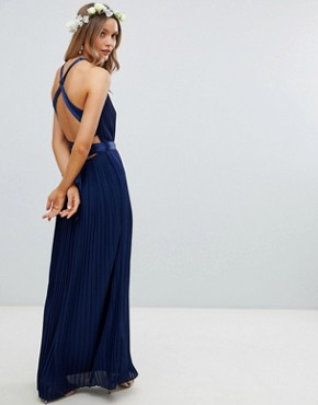 photo Pleated Maxi Bridesmaid Dress with Cross Back and Bow Detail by TFNC, color Navy - Image 2