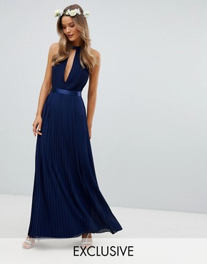 photo Pleated Maxi Bridesmaid Dress with Cross Back and Bow Detail by TFNC, color Navy - Image 1
