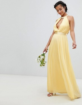 photo Pleated Maxi Bridesmaid Dress with Cross Back and Bow Detail by TFNC Petite, color Pastel Yellow - Image 2