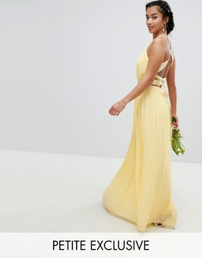 photo Pleated Maxi Bridesmaid Dress with Cross Back and Bow Detail by TFNC Petite, color Pastel Yellow - Image 1