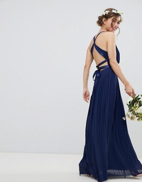 photo Pleated Maxi Bridesmaid Dress with Cross Back and Bow Detail by TFNC Petite, color Navy - Image 2