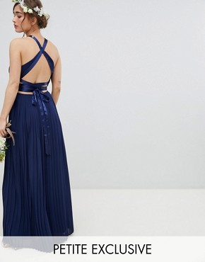 photo Pleated Maxi Bridesmaid Dress with Cross Back and Bow Detail by TFNC Petite, color Navy - Image 1