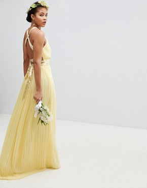 photo Pleated Maxi Bridesmaid Dress with Cross Back and Bow Detail by TFNC Tall, color Pastel Yellow - Image 2
