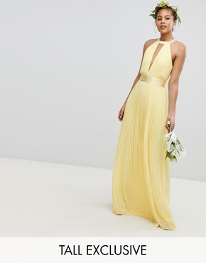 photo Pleated Maxi Bridesmaid Dress with Cross Back and Bow Detail by TFNC Tall, color Pastel Yellow - Image 1