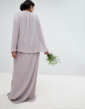 photo Pleated Wrap Front Maxi Bridesmaid Dress with Cape Detail by TFNC Plus, color Grey - Image 2
