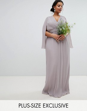 photo Pleated Wrap Front Maxi Bridesmaid Dress with Cape Detail by TFNC Plus, color Grey - Image 1