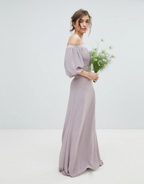 photo Bardot Maxi Bridesmaid Dress with Sleeve Drama and Embellished Waist by TFNC Petite, color Grey - Image 2
