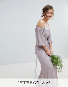 photo Bardot Maxi Bridesmaid Dress with Sleeve Drama and Embellished Waist by TFNC Petite, color Grey - Image 1