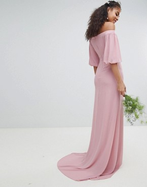 photo Bardot Maxi Bridesmaid Dress with Sleeve Drama and Embellished Waist by TFNC Tall, color Vintage Rose - Image 2