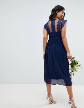 photo Lace Detail Midi Bridesmaid Dress by TFNC Maternity, color Navy - Image 2