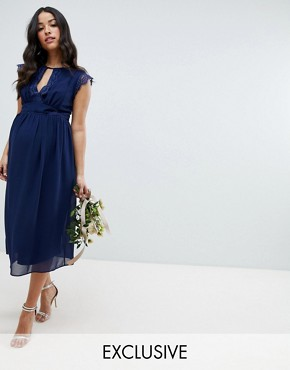 photo Lace Detail Midi Bridesmaid Dress by TFNC Maternity, color Navy - Image 1