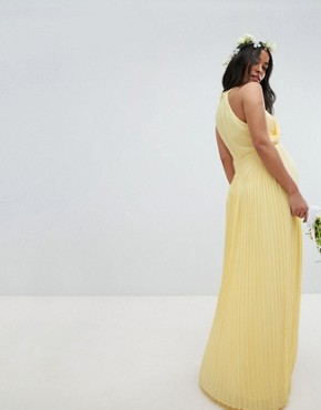 photo Pleated Maxi Bridesmaid Dress by TFNC Maternity, color Pastel Yellow - Image 2