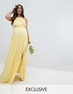 photo Pleated Maxi Bridesmaid Dress by TFNC Maternity, color Pastel Yellow - Image 1
