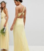 photo Embellished Maxi Bridesmaid Dress by TFNC Tall, color Pastel Yellow - Image 2
