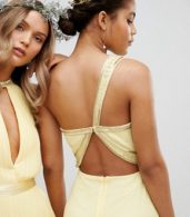 photo Embellished Maxi Bridesmaid Dress by TFNC Tall, color Pastel Yellow - Image 3