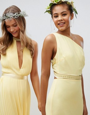 photo Embellished Maxi Bridesmaid Dress by TFNC Tall, color Pastel Yellow - Image 4