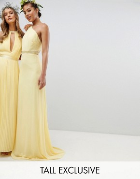 photo Embellished Maxi Bridesmaid Dress by TFNC Tall, color Pastel Yellow - Image 1