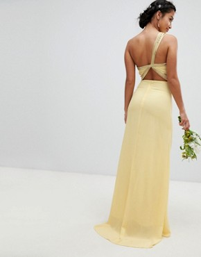 photo Embellished Maxi Bridesmaid Dress by TFNC Petite, color Pastel Yellow - Image 2
