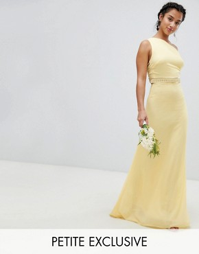 photo Embellished Maxi Bridesmaid Dress by TFNC Petite, color Pastel Yellow - Image 1