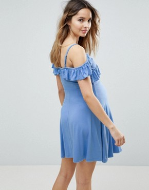 photo Cold Shoulder Skater Sundress with Ruffle by ASOS Maternity, color Pale Blue - Image 2