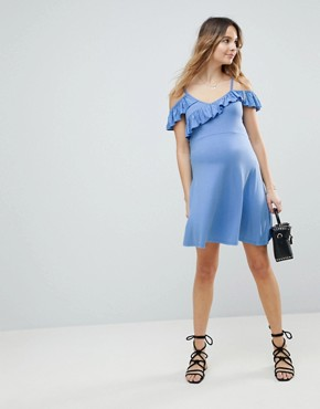 photo Cold Shoulder Skater Sundress with Ruffle by ASOS Maternity, color Pale Blue - Image 1