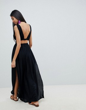 photo Grecian Plunge Maxi Woven Beach Dress by ASOS DESIGN, color Black - Image 2