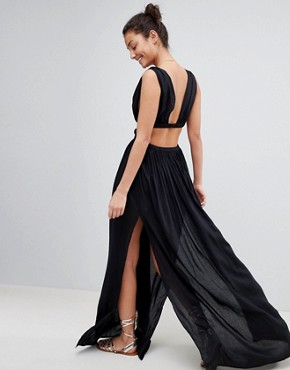 photo Grecian Plunge Maxi Woven Beach Dress by ASOS TALL, color Black - Image 2