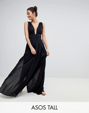 photo Grecian Plunge Maxi Woven Beach Dress by ASOS TALL, color Black - Image 1