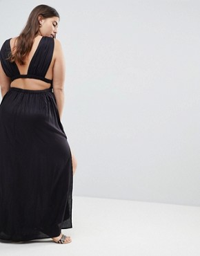 photo Grecian Plunge Maxi Woven Beach Dress by ASOS CURVE, color Black - Image 2