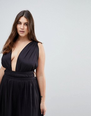 photo Grecian Plunge Maxi Woven Beach Dress by ASOS CURVE, color Black - Image 3