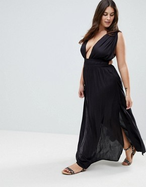 photo Grecian Plunge Maxi Woven Beach Dress by ASOS CURVE, color Black - Image 4