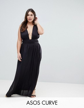 photo Grecian Plunge Maxi Woven Beach Dress by ASOS CURVE, color Black - Image 1