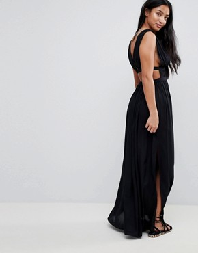 photo Grecian Plunge Maxi Woven Beach Dress by ASOS PETITE, color Black - Image 2