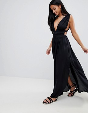 photo Grecian Plunge Maxi Woven Beach Dress by ASOS PETITE, color Black - Image 4