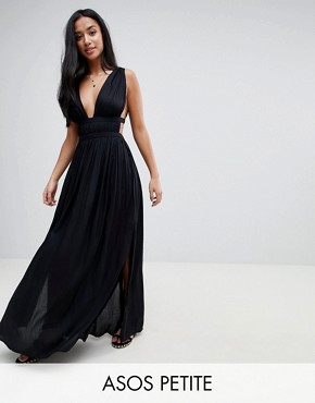 photo Grecian Plunge Maxi Woven Beach Dress by ASOS PETITE, color Black - Image 1