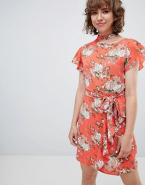 photo Frill Front Floral Print Tea Dress by Walter Baker, color Pink - Image 1