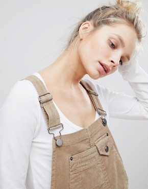 photo Cord Dungaree Dress in Stone by ASOS DESIGN, color Stone - Image 3