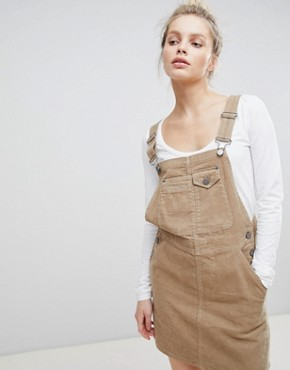 photo Cord Dungaree Dress in Stone by ASOS DESIGN, color Stone - Image 1