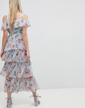 photo Floral Print Tiered Maxi Dress by Walter Baker, color Blue - Image 2