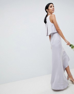 photo Bridesmaid Pearl Trim Crop Top Maxi Dress by ASOS DESIGN, color Mink - Image 2