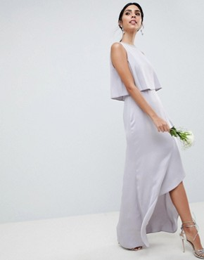 photo Bridesmaid Pearl Trim Crop Top Maxi Dress by ASOS DESIGN, color Mink - Image 1