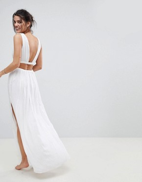 photo Grecian Plunge Maxi Woven Beach Dress by ASOS, color White - Image 2