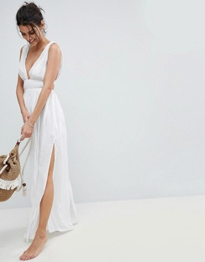 photo Grecian Plunge Maxi Woven Beach Dress by ASOS, color White - Image 1