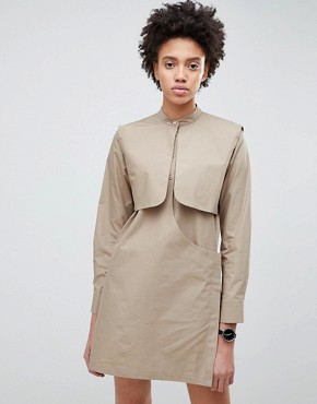photo Mini Shirt Dress by ASOS WHITE, color Stone - Image 1